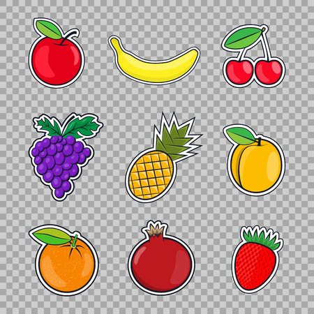 Collection fruits icons in a flat style of pop art isolated on transparent background.