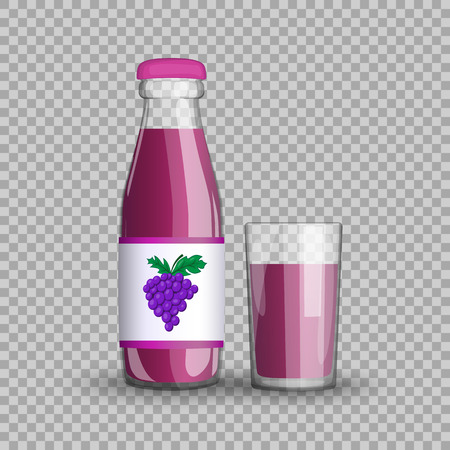 Grape juice in a transparent glass bottle isolated in a glass cup on transparent background.