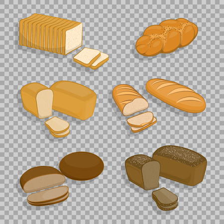 Set of bakery products isolated on a transparent background.