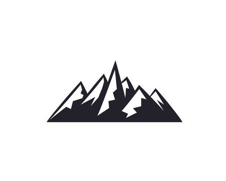 Mountain peaks, ski logo design elements icon collection isolated on white background.