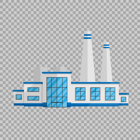 Fabrieksgebouw in de vlakke stijl geïsoleerd op transparante achtergrond illustratie.