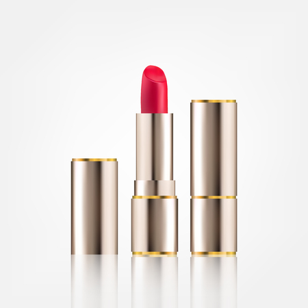 Lipstick cosmetics in package design mock-up realistic style isolated on white background. Ilustracja