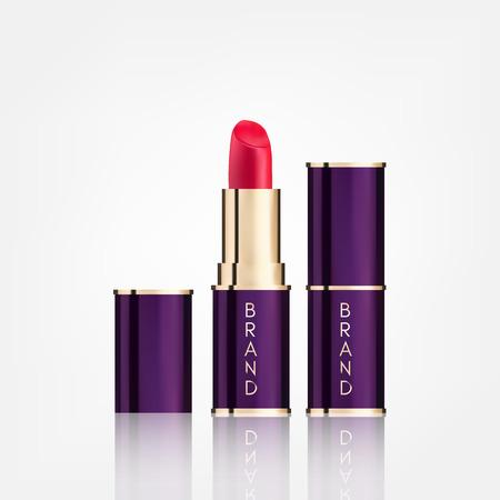 パッケージの口紅の化粧品は、白い背景で隔離モックアップ現実的なスタイルをデザインします。