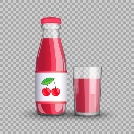 Cherry juice in a transparent glass bottle isolated in a glass cup on transparent background. Vector illustration of a healthy, veggie fruit drink packaged with vitamins for your projects. Ilustração