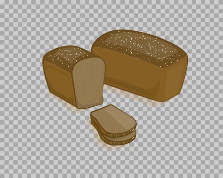 黒いパンを分離し、透明な背景にスライスしました。ベクトルイラスト、手で漫画のスタイルで作られたベーカリー製品。