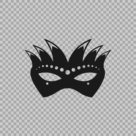 베네치아 아이콘 기호, 카니발 마스크 투명 한 배경에 고립. 가장 무도회, 파티 및 각종 축하를위한 장식 요소 의상. 벡터 일러스트 레이 션