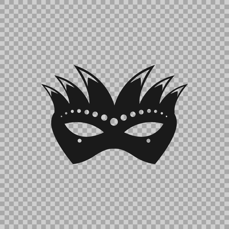 Venetian icon symbol, carnival mask isolated on a transparent background. Decoration element costume for the masquerade, parties and various celebrations. Vector illustration