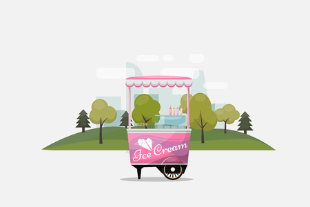 merchant: Ice cream cart, kiosk on wheels, retailers, dairy desserts, isolated and flat style vector illustration. Cool refreshing dessert sale