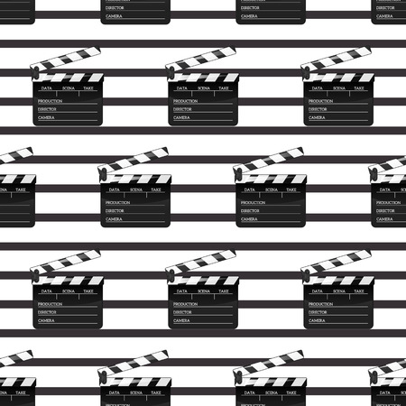 Black clap open object element for movie making vector illustration Flat in style. Pattern Symbol Icon on films for your projects. Illustration