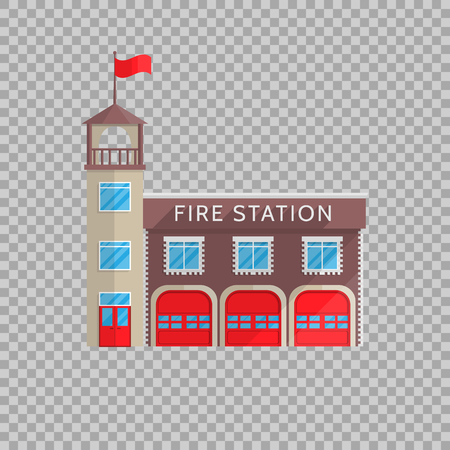 Feuerwehrhausgebäude in der flachen Art auf einer transparenten Hintergrund Vektorillustration. Standard-Bild - 85469906