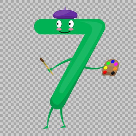 7 かわいい楽しいカラフルな孤立した子供のための漫画のキャラクターの形の図します。ベクトルこどものイラスト数学記号、笑みを浮かべてします