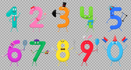 Cute fun colorful collection numbers in the form of various cartoon characters for kids. Vector illustration of mathematical symbols one, two, three, four, five, six, seven, eight, nine, zero.