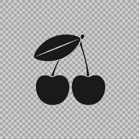 Cherry vector pictogram in een vlakke stijl geïsoleerd op transparante achtergrond. Het symbool van het fruit, gezond eten voor de samenvatting van uw projecten. Stock Illustratie
