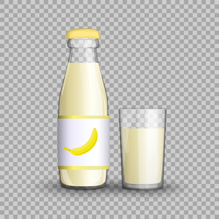 Banana juice in a transparent glass bottle isolated in a glass cup on transparent background. Vector illustration of summer healthy, fruit drink packaged with vitamins for your projects. Ilustração