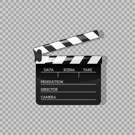 Black clap open black object element voor film vectorillustratie Flat in stijl. Symbolicoon op films voor uw projecten.