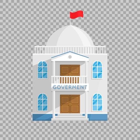 Bâtiment gouvernemental dans un style plat isolé sur fond transparent Illustration vectorielle. Sénat, maison du gouvernement et autres personnes gérant leur propre ville pays Illustration pour vos projets.
