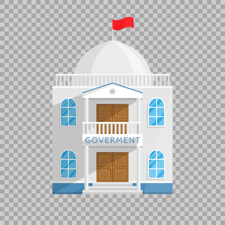 Government building in Flat style isolated on transparent background Vector Illustration. Senate Government House and other managing their own country city Illustration for your projects.