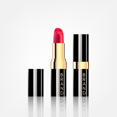 Lipstick cosmetics in package design mock-up realistic style isolated on white background Vector Illustration. Cosmetics, Fashion Beauty Make Up brand. Illustration