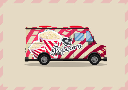Popcorn cart, kiosk on wheels, retailers, sweets and confectionery products flat style isolated vector illustration. Snacks for your projects.