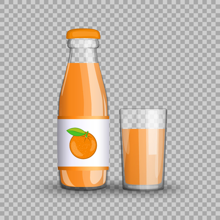 Orange juice in a transparent glass bottle isolated in a glass cup on transparent background. Vector illustration of summer healthy, veggie citrus fruit drink packaged vitamins for your projects.