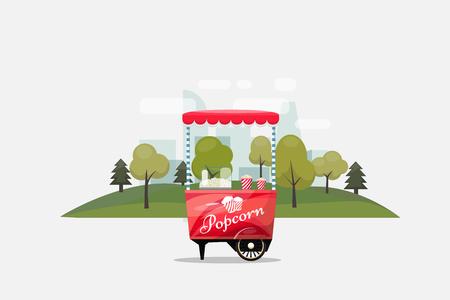 팝콘 카트, 바퀴, 소매점, 과자 및 제과 제품에 키오스크 및 플랫 스타일 투명 한 배경 벡터 일러스트 레이 션에서 절연.