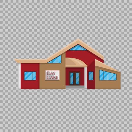 Kinderdagverblijf gebouw in vlakke stijl geïsoleerd op transparante achtergrond Vector illustratie. Voorschools onderwijs, een plaats waar veel kinderen symbool staan