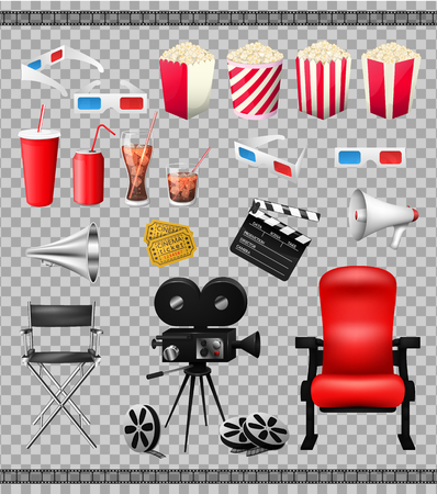 Big set of collection elements of cinema isolated on transparent background vector illustration. Composition poster postcard with retro camera director,3D-glasses, when ticket, popcorn.