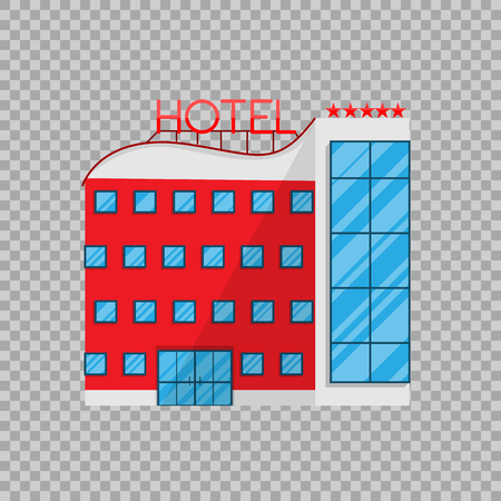 Hotel in Flat style isolated on transparent background Vector Illustration. The building architecture holiday home, removing Apartments Illustration