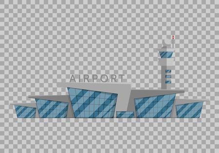 Edificio del aeropuerto está aislado en el estilo plano en la ilustración de vector de fondo transparente. Aeropuerto moderno, vehículos voladores, viajar a otros países símbolo de turismo Foto de archivo - 85641187