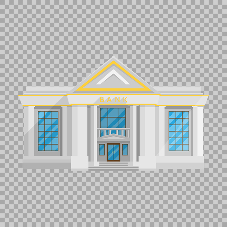 Bank building isolated Flat in style on a transparent background vector illustration. The institution which holds money and issued loans, currency exchange, a symbol