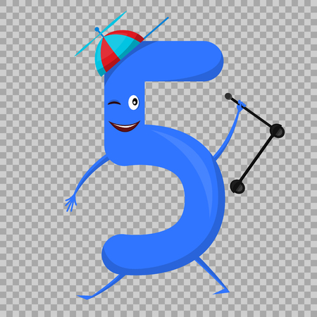 Five Cute fun colorful figure in the form of cartoon characters for kids isolated. Fifth Vector Illustration children s mathematical symbol, smiling