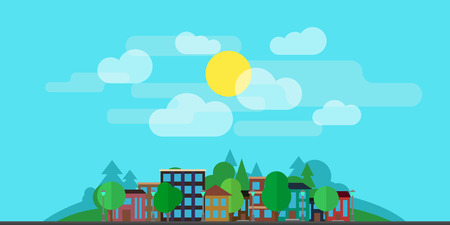 City landscape with houses, with greenery, clouds on the background of the hills. The concept of urban life. The illustration is made in a flat style. 向量圖像