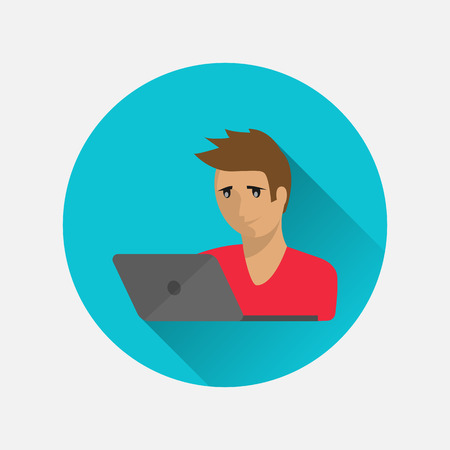 Man freelancer runs a computer icon isolated in a flat style on a white background. Vector illustration for your projects.