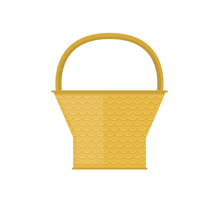 bast basket: Empty baskets set isolated on white background vector illustration. Wicker baskets, picnic Easter holiday, osier container clean, symbols for your projects.