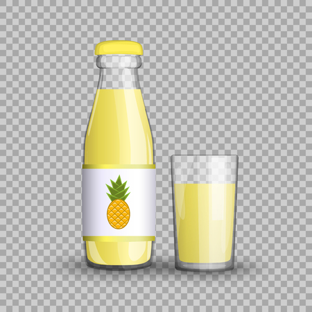 Pineapple juice in a transparent glass bottle isolated on transparent background. Vector illustration of summer healthy, veggie exotic fruit drink packaged with vitamins for your projects