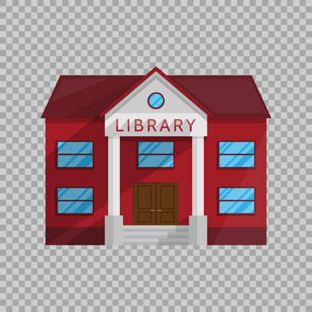 Library building in Flat style isolated on transparent background Vector Illustration. Symbol Architecture house Shop Books literature education teaching reading getting Illustration