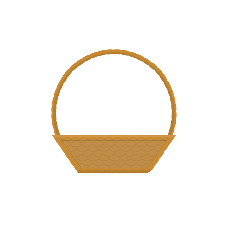 Empty baskets set isolated on white background vector illustration. Wicker baskets, picnic Easter holiday, osier container clean, symbols for your projects.