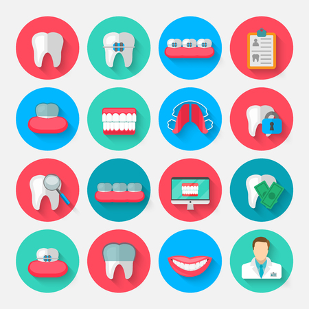 Dentistry icons isolated in a flat design style.