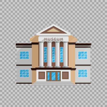 Museum building in flat style isolated on transparent background Vector illustration.
