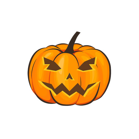 Halloween is isolated with a terrible pumpkin in a cartoon style on a white background.