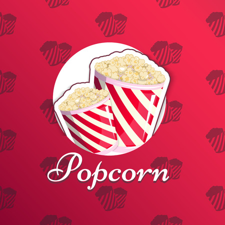 Popcorn is isolated in a striped logo logo emblem for your produce, an appetizer bucket when you watch movies. Illustration