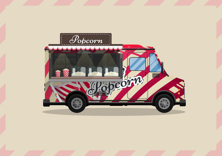Popcorn cart, kiosk on wheels, retailers, sweets and confectionery products, and flat style isolated vector illustration. Snacks for your projects Фото со стока - 86131449