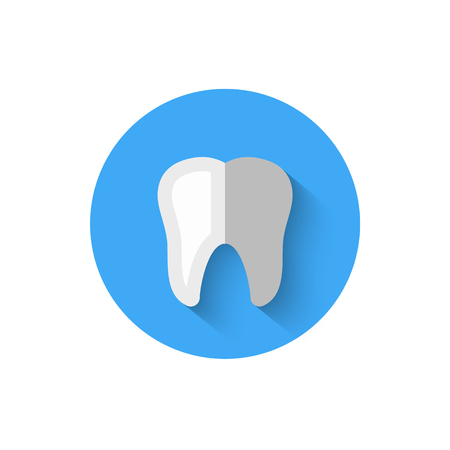 Tooth icon isolated in flat design style vector illustration. Modern, minimalist icon on the theme of stomatology in stylish colors.