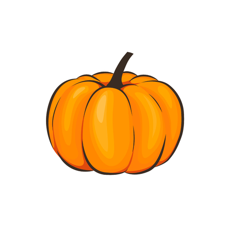 Pumpkin isolated illustration symbol icon in a cartoon style on a white background. Ilustração