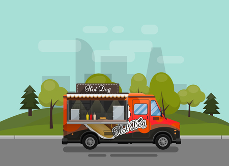 Hot dog cart, kiosk on wheels, retailers, fast snack breakfast, fast food and flat style.