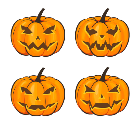 Set with a terrible pumpkin for Halloween in a cartoon style on a white background. Vector Illustration on Halloween Celebration for your projects