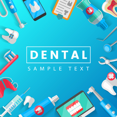 Dental Banner Background Concept With Flat Icons Isolated. Vector Illustration, Dentistry, Orthodontics. Healthy clean teeth. Dental instruments and equipment. Illustration for your projects