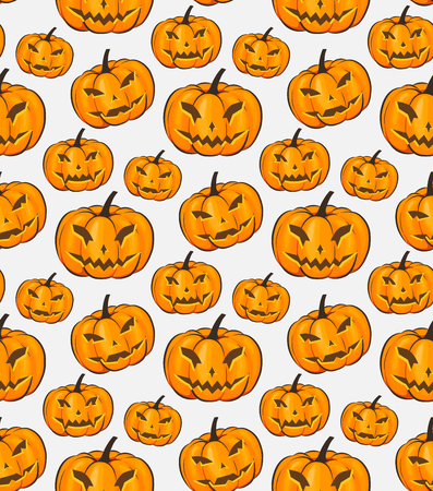 Halloween Seamless Pattern Isolated Wrap Wallpaper With Terrible Pumpkins In A Cartoon Style. Vector illustration of Halloween theme for your projects
