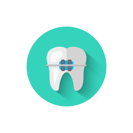 Tooth with braces icon isolated in flat design style vector illustration. Modern, minimalist icon on the theme of stomatology in stylish colors. Website and other projects of yours.