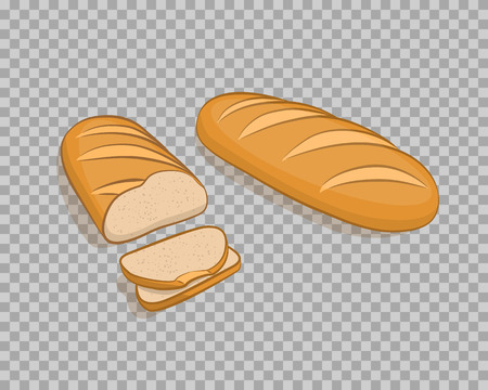 White bread isolated, sliced on a transparent background Illustration